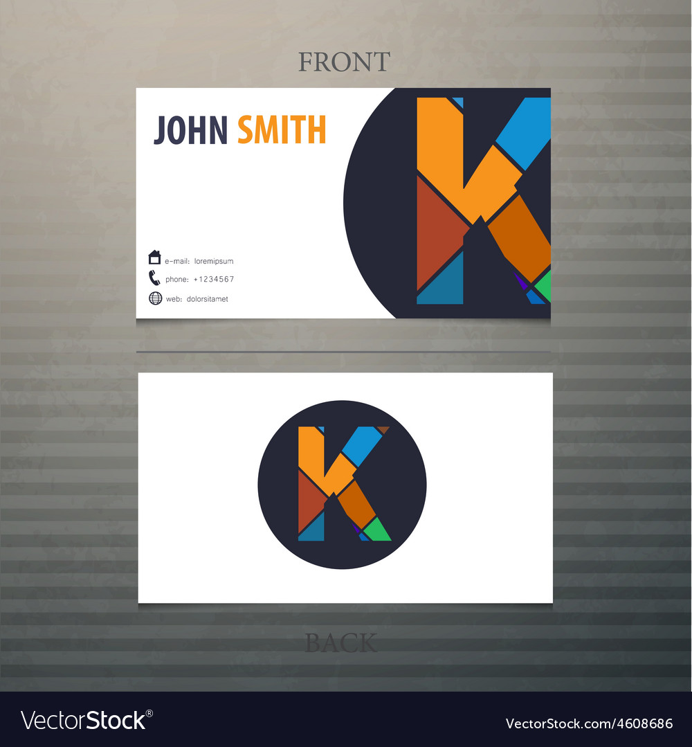 Business card template letter k vector | Price: 1 Credit (USD $1)