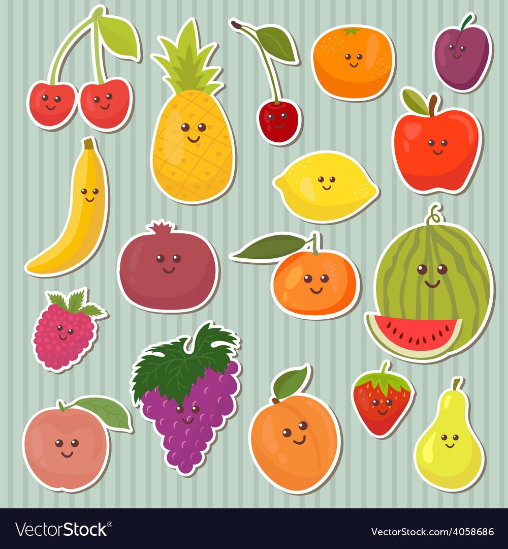 Cute cartoon fruits healthy food vector | Price: 1 Credit (USD $1)