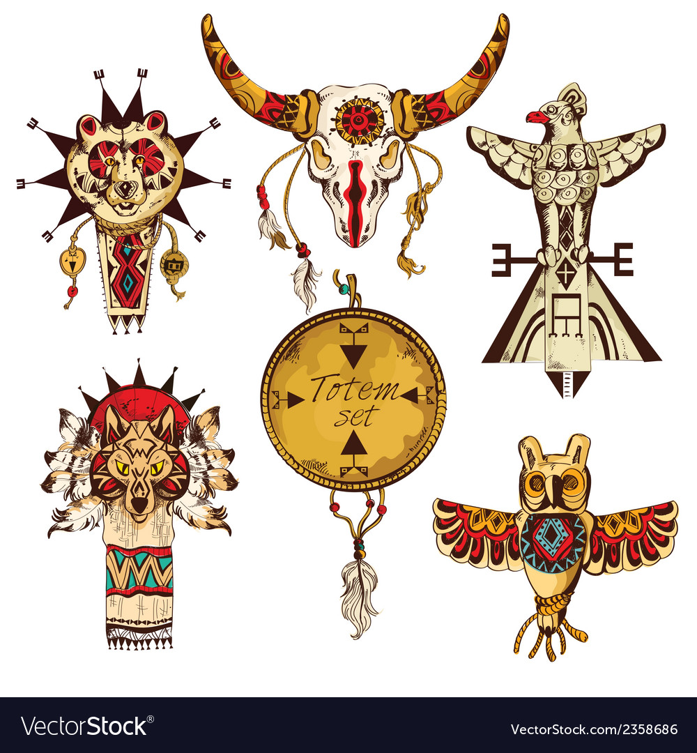 Ethnic american totems colored set vector | Price: 1 Credit (USD $1)
