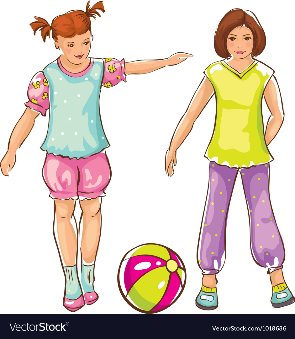 Girls with ball sketch vector | Price: 3 Credit (USD $3)