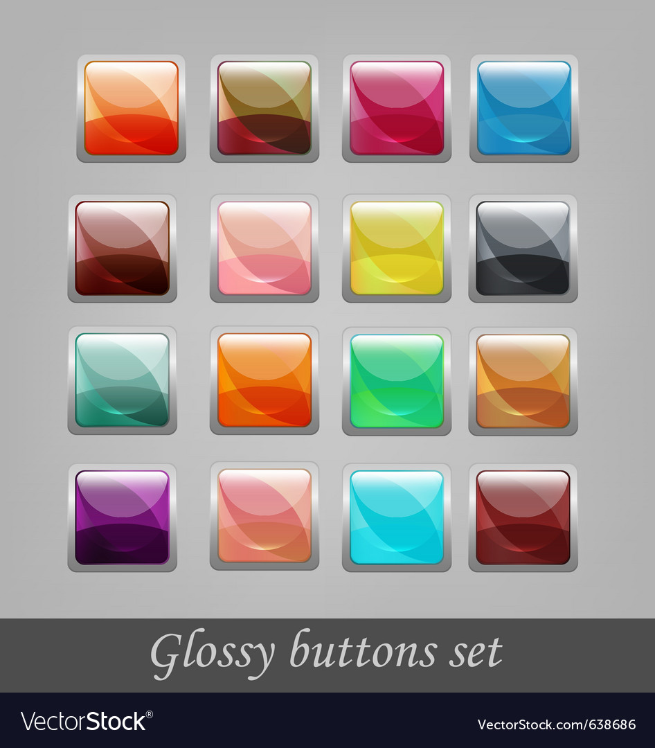 Glossy buttons set vector | Price: 1 Credit (USD $1)