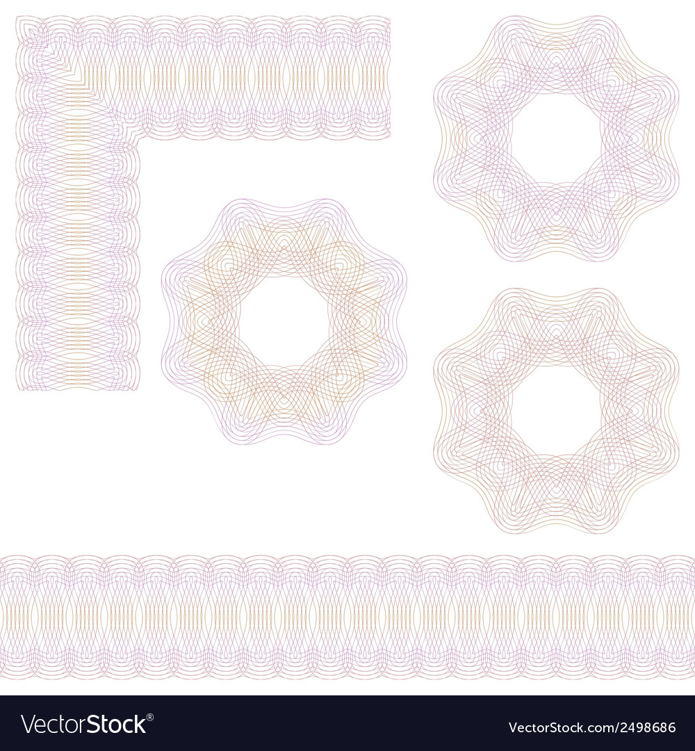 Guilloche rosette and borders vector | Price: 1 Credit (USD $1)