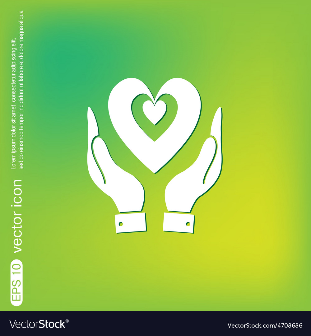 Hand holding a heart icon isolated symbol vector | Price: 1 Credit (USD $1)