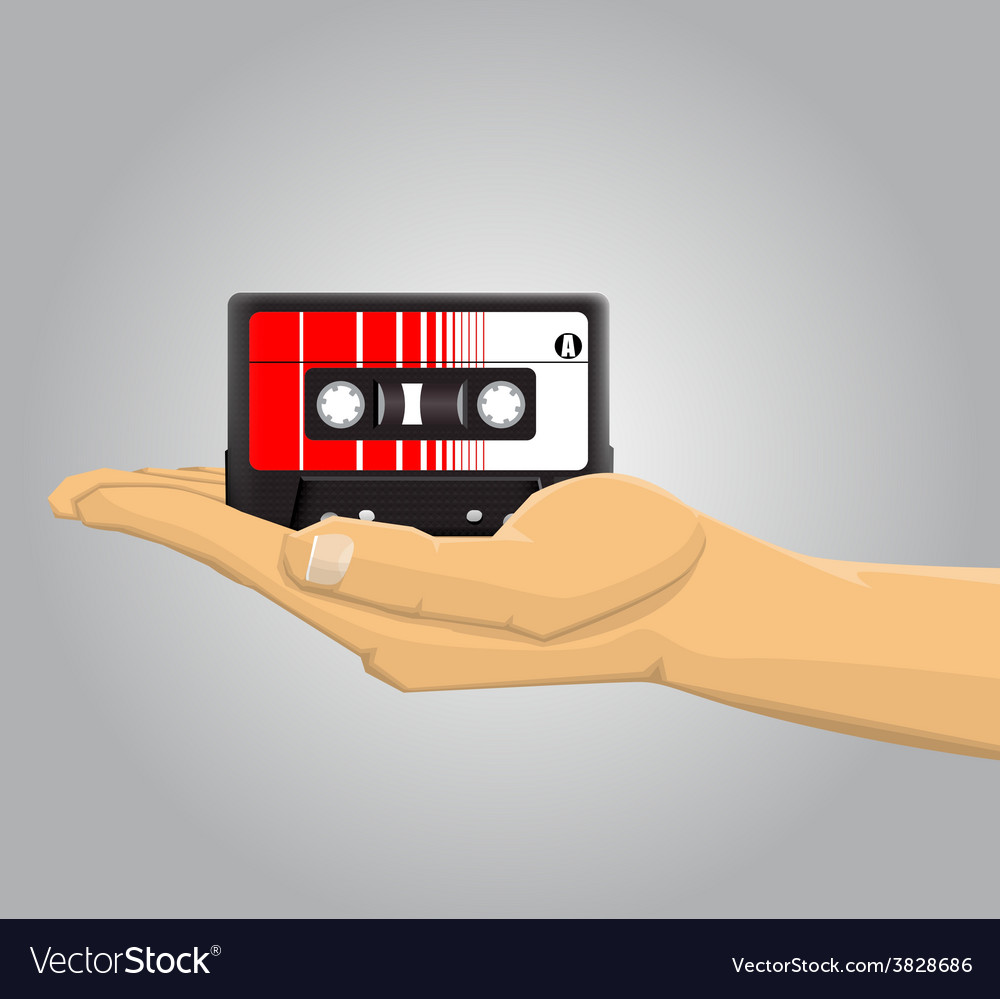 Hand holding an audio casette vector | Price: 1 Credit (USD $1)
