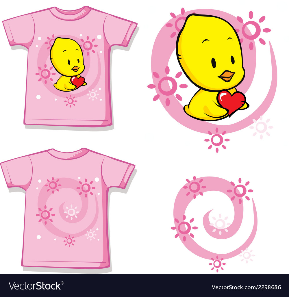 Kid shirt with cute chick printed vector | Price: 1 Credit (USD $1)