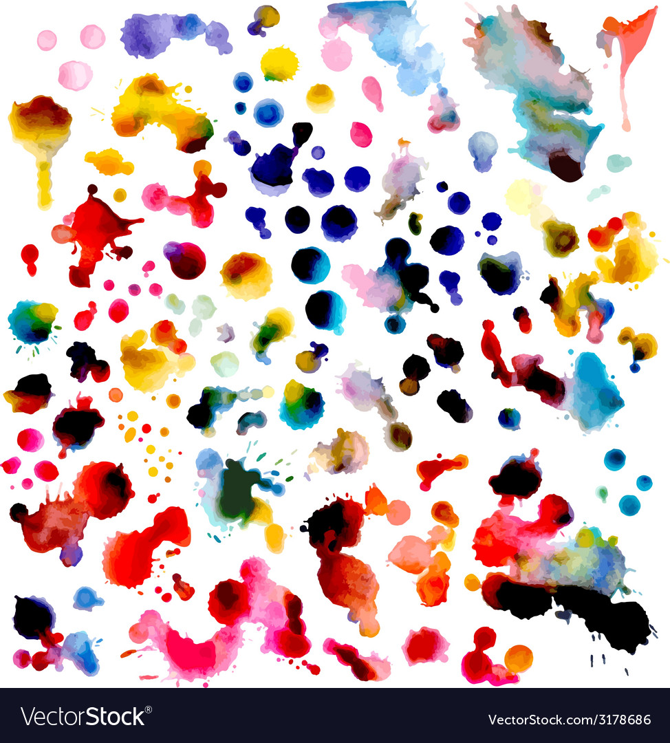 Set of watercolor grunge elements isolated on vector | Price: 1 Credit (USD $1)