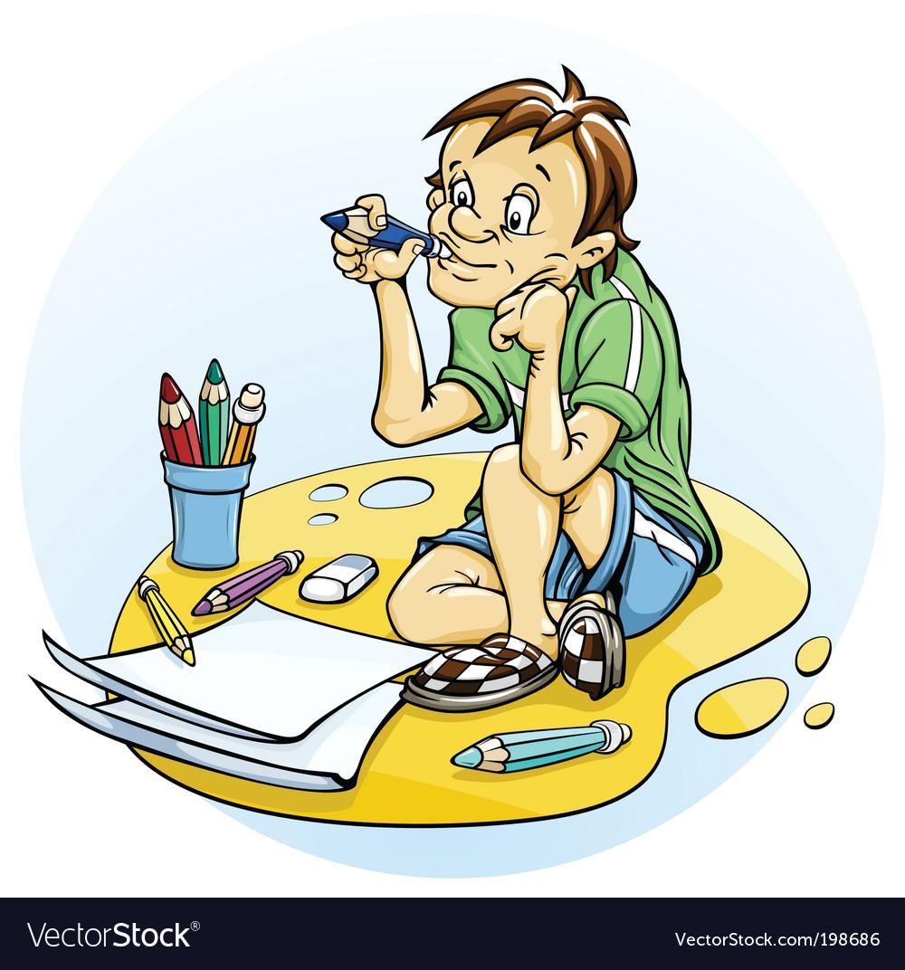 Sitting boy draw pencil vector | Price: 3 Credit (USD $3)