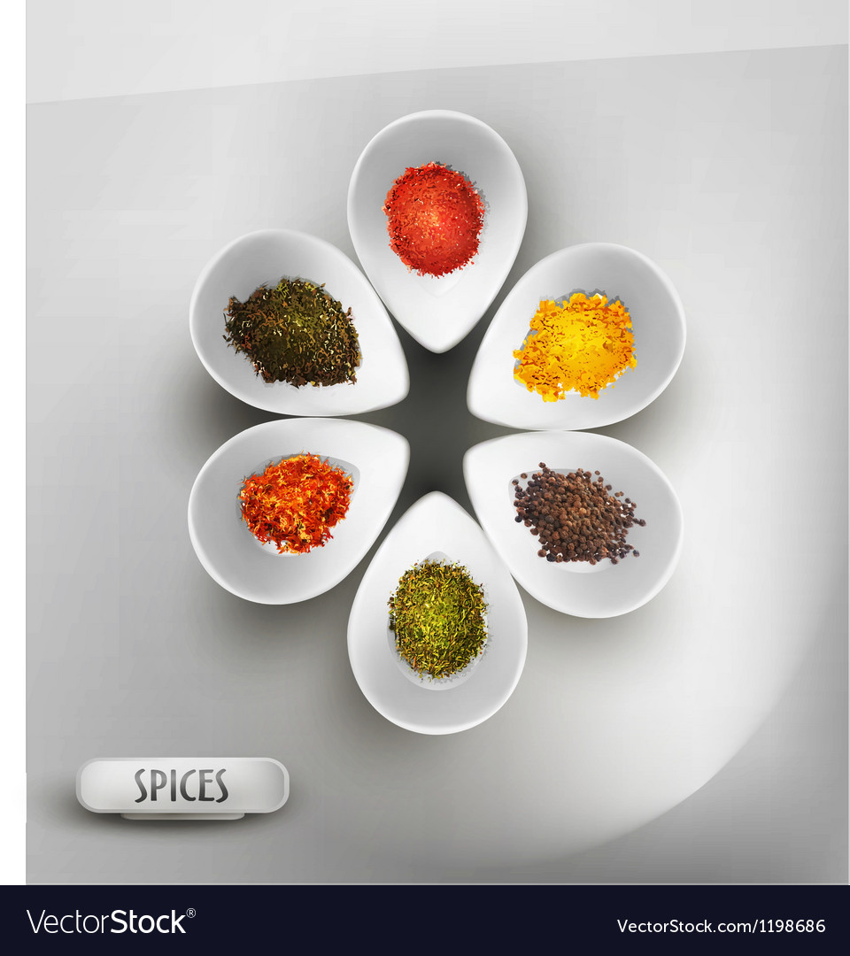 White bowl on the table the filling of spices vector | Price: 1 Credit (USD $1)
