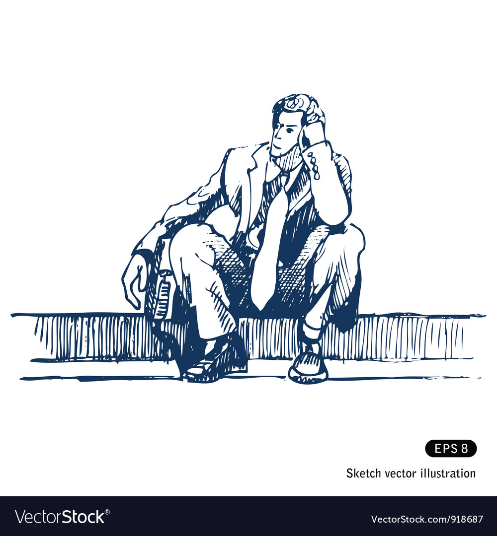 Businessman sitting on step vector | Price: 1 Credit (USD $1)