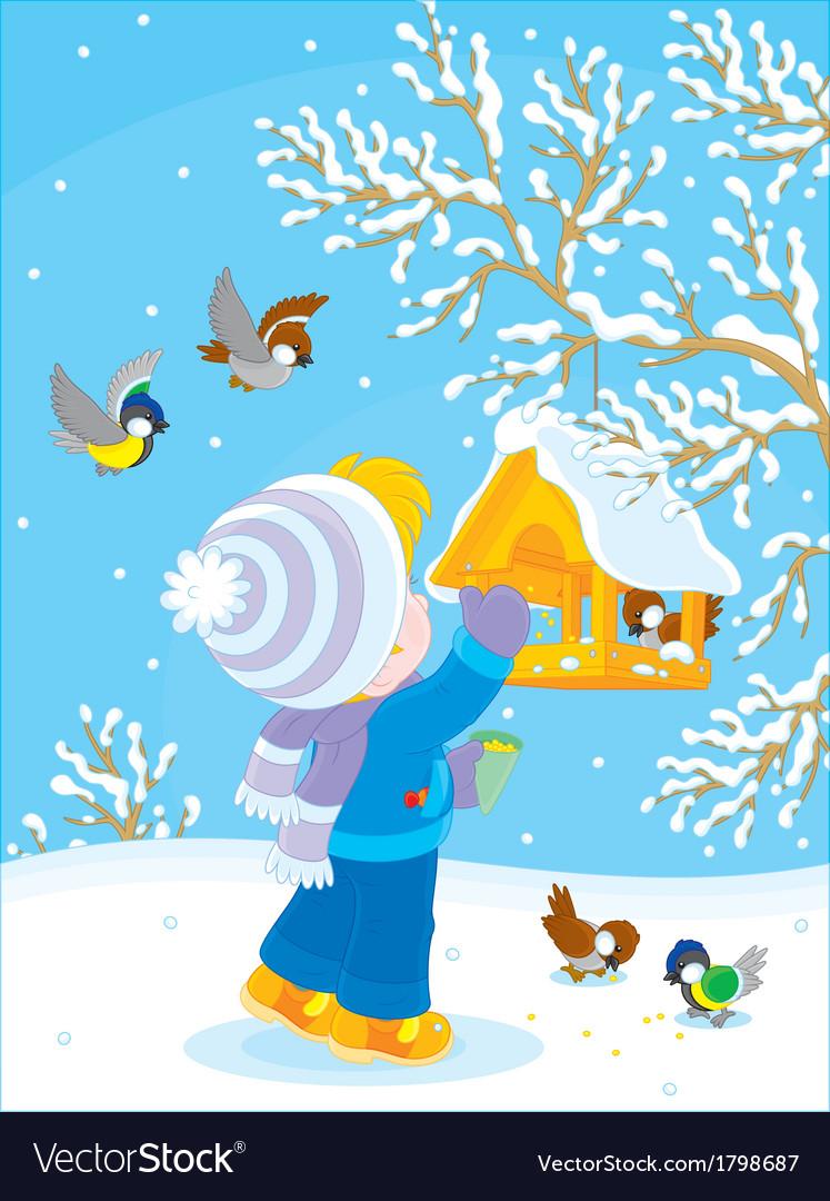 Child feeds birds vector | Price: 1 Credit (USD $1)