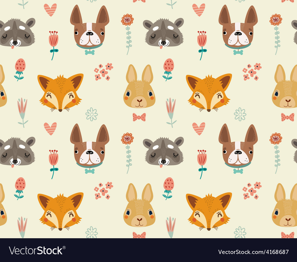 Cute seamless pattern with animals and flowers vector