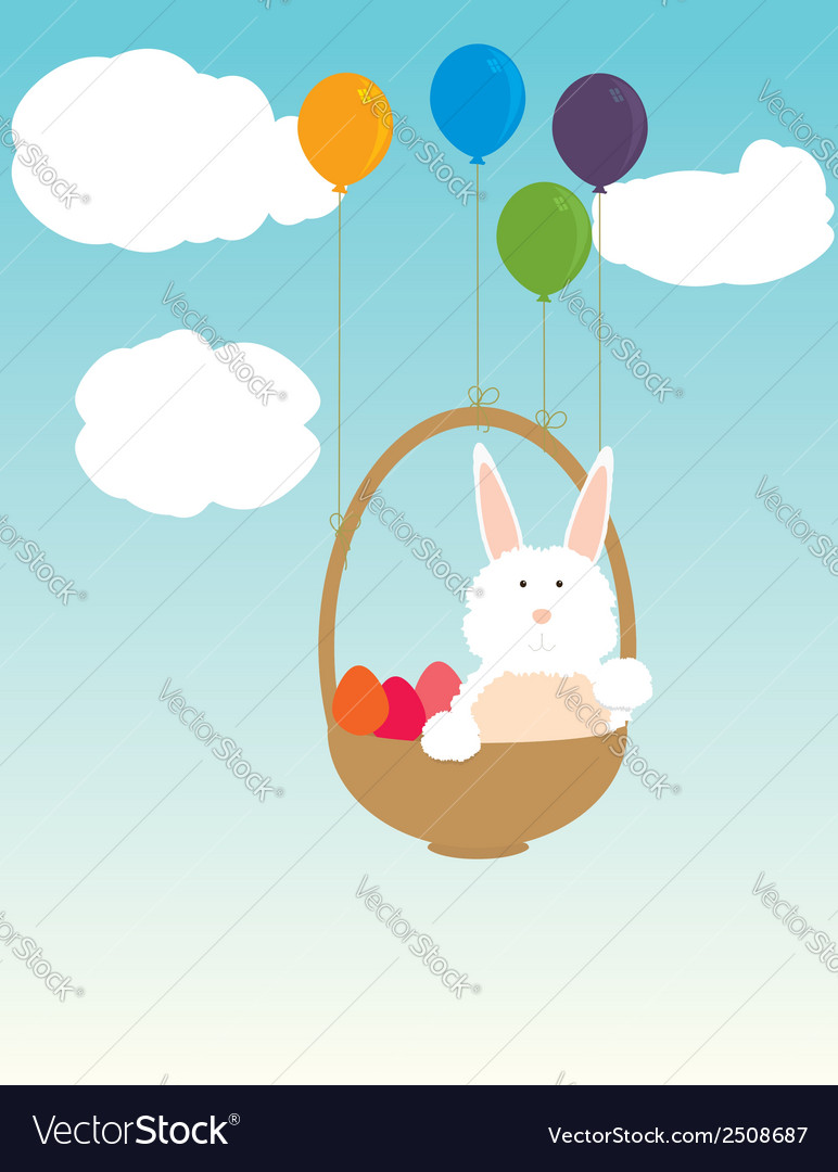 Easter bunny floating in basket vector | Price: 1 Credit (USD $1)