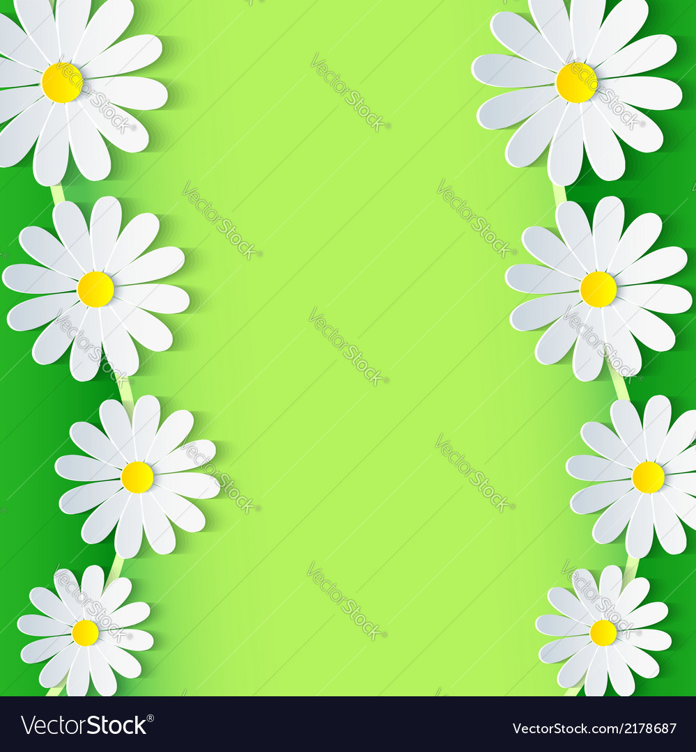 Floral green frame with 3d chamomile flower vector | Price: 1 Credit (USD $1)