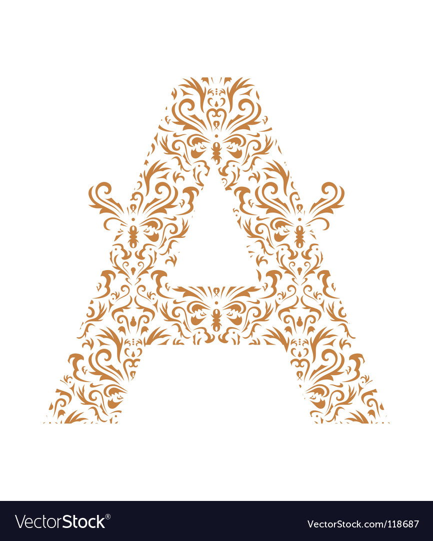 Floral letter a ornament font vector | Price: 1 Credit (USD $1)