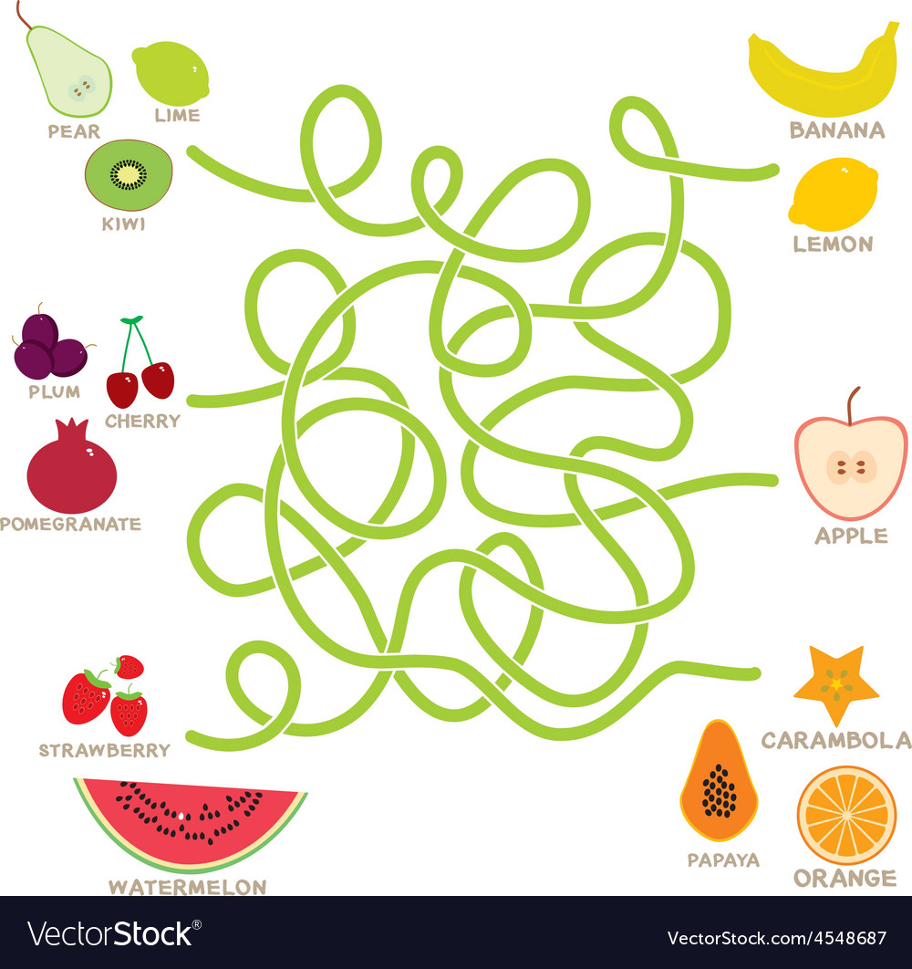 Fruit labyrinth game for preschool children vector | Price: 1 Credit (USD $1)