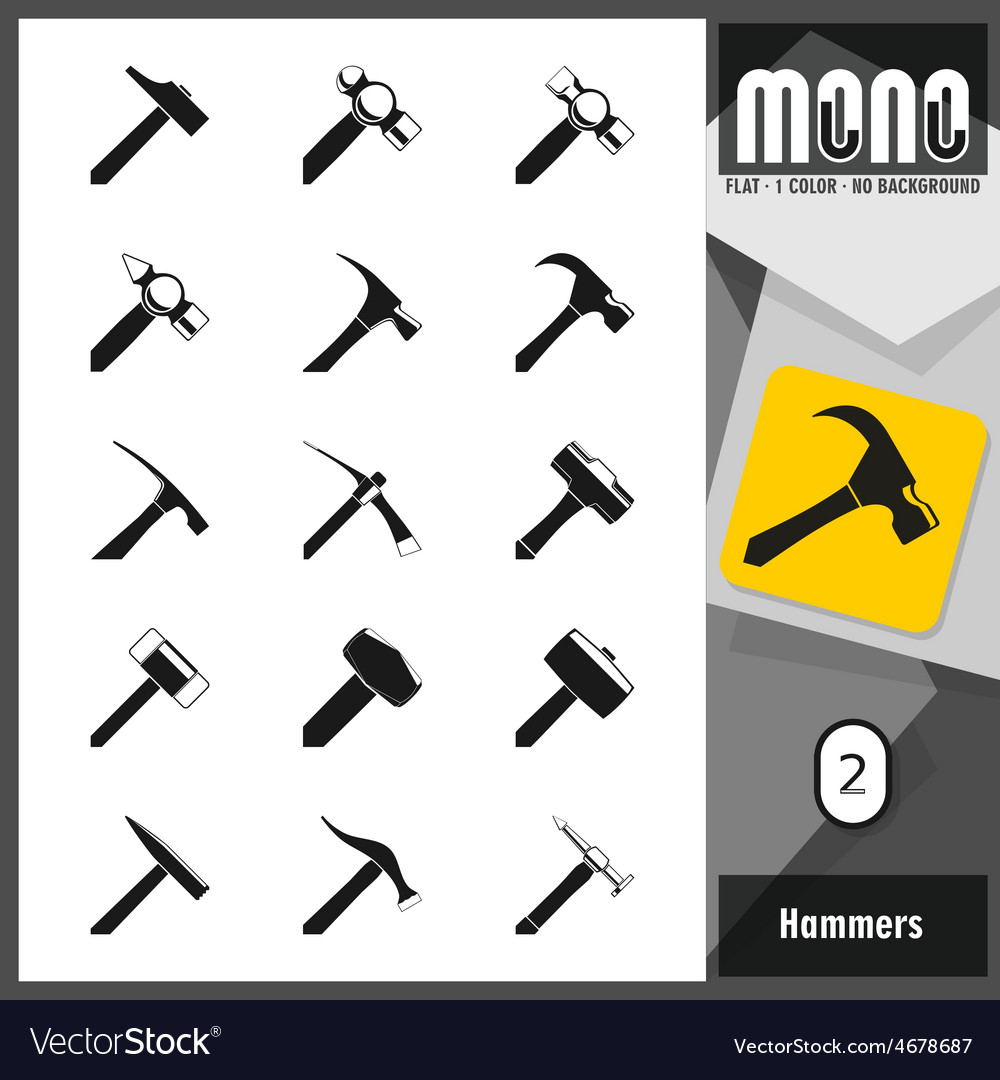 Mono icons hammers 2 vector | Price: 1 Credit (USD $1)