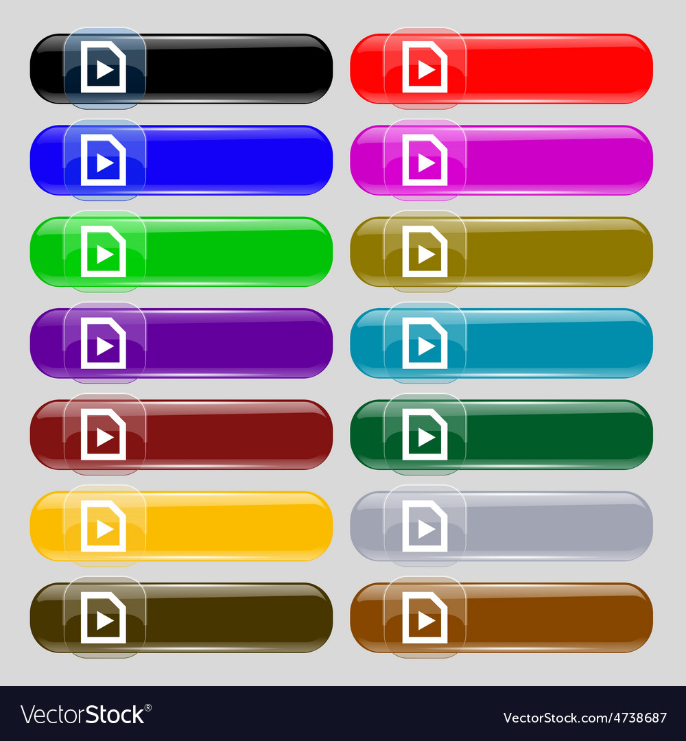 Play icon sign set from fourteen multi-colored vector   Price: 1 Credit (USD $1)