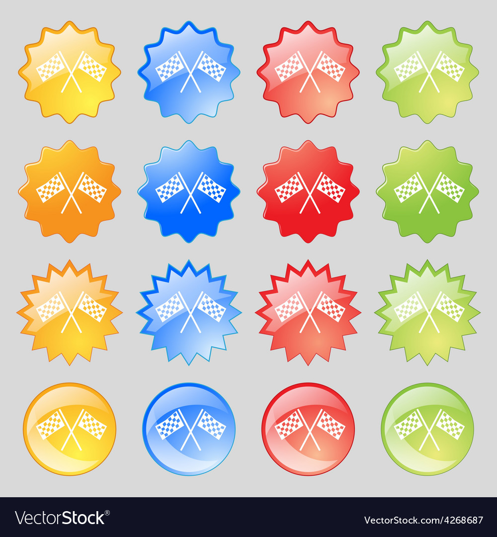 Race flag finish icon sign big set of 16 colorful vector | Price: 1 Credit (USD $1)