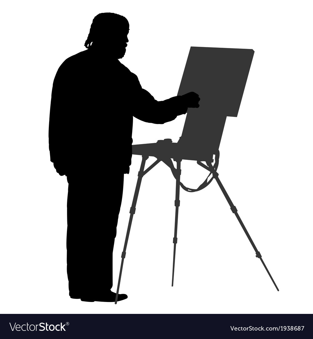 Silhouette artist at the easel vector | Price: 1 Credit (USD $1)
