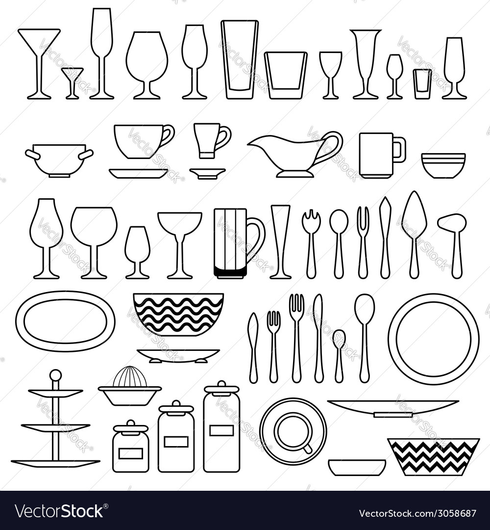 Silhouette of cookware and kitchen accessories vector | Price: 1 Credit (USD $1)