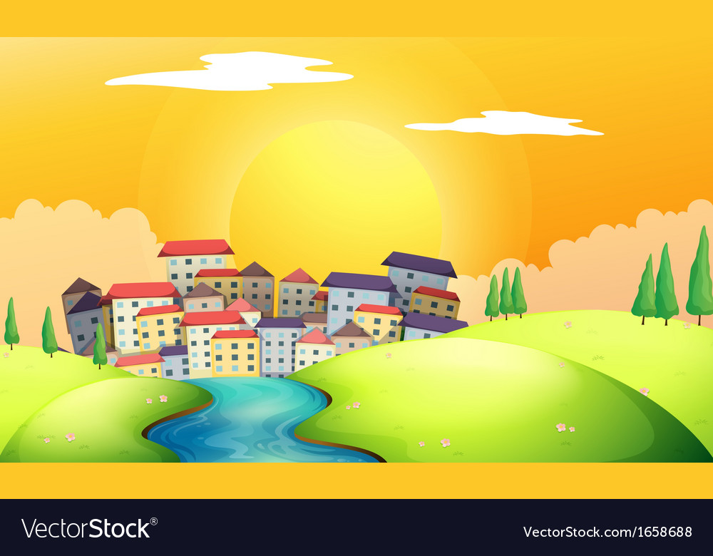 A flowing river at the village vector | Price: 3 Credit (USD $3)