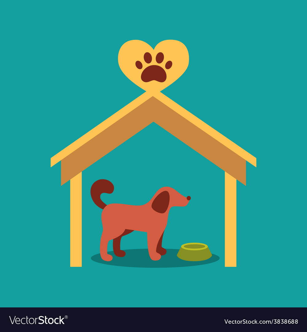 A signboard beside a doghouse with vector | Price: 1 Credit (USD $1)