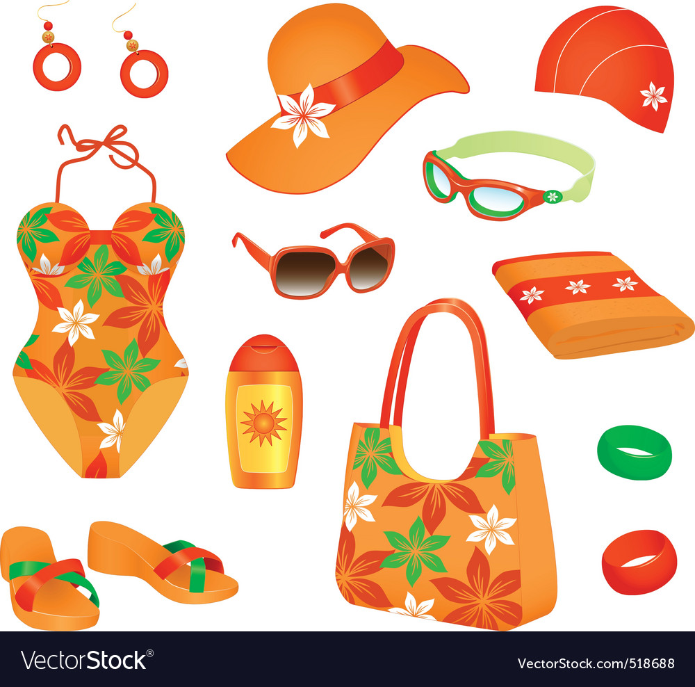 Beach accessories for woman vector | Price: 1 Credit (USD $1)