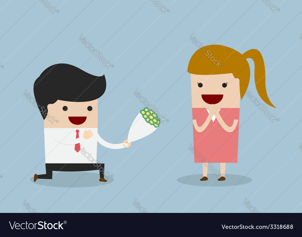 Businessman kneeling down giving flower to woman vector | Price: 1 Credit (USD $1)
