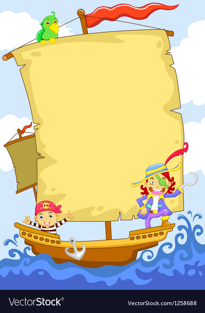 Cartoon pirate banner ship vector | Price: 1 Credit (USD $1)