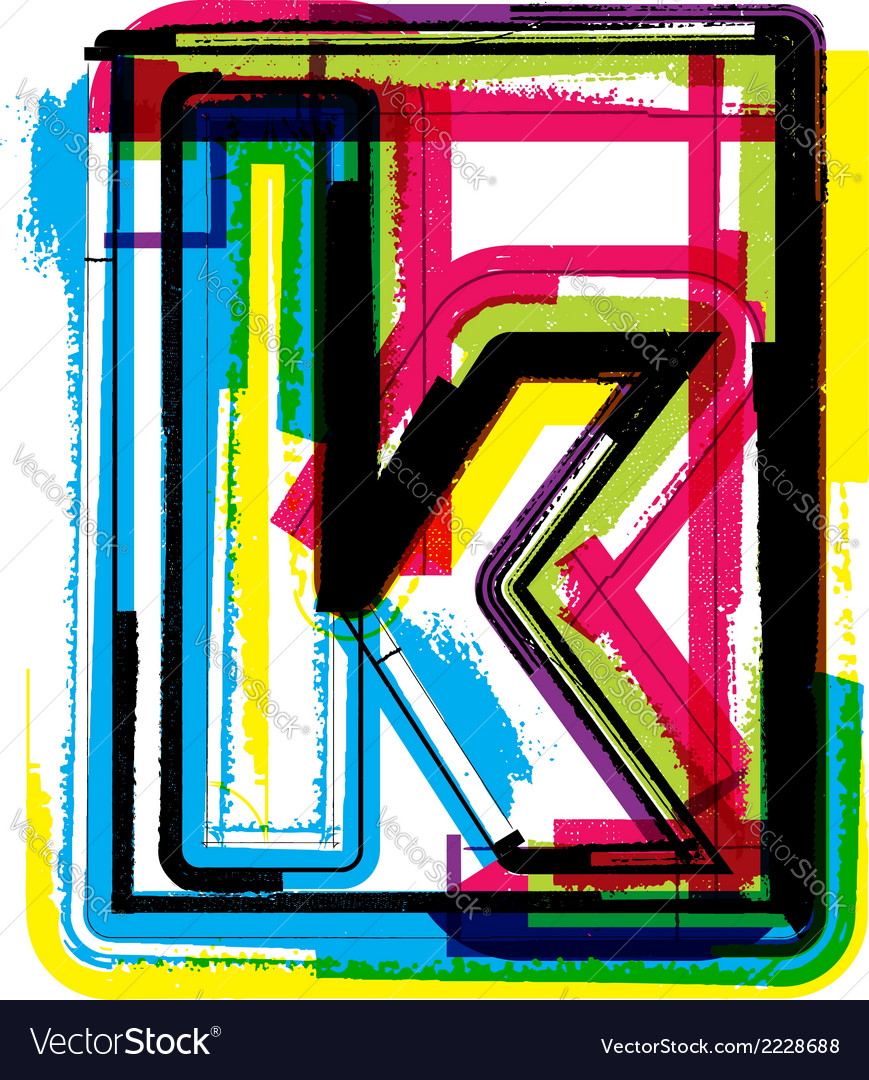 Colorful grunge font letter k vector | Price: 1 Credit (USD $1)