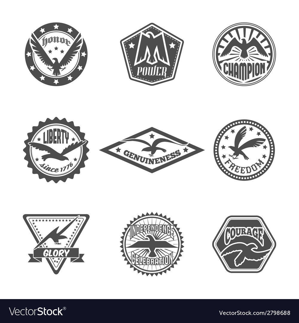 Eagle label icon set vector | Price: 1 Credit (USD $1)