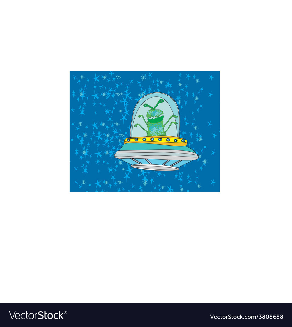 Extraterrestrial in a flying saucer vector | Price: 1 Credit (USD $1)