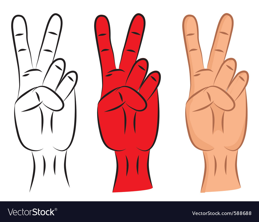 Hand victory sign vector | Price: 1 Credit (USD $1)