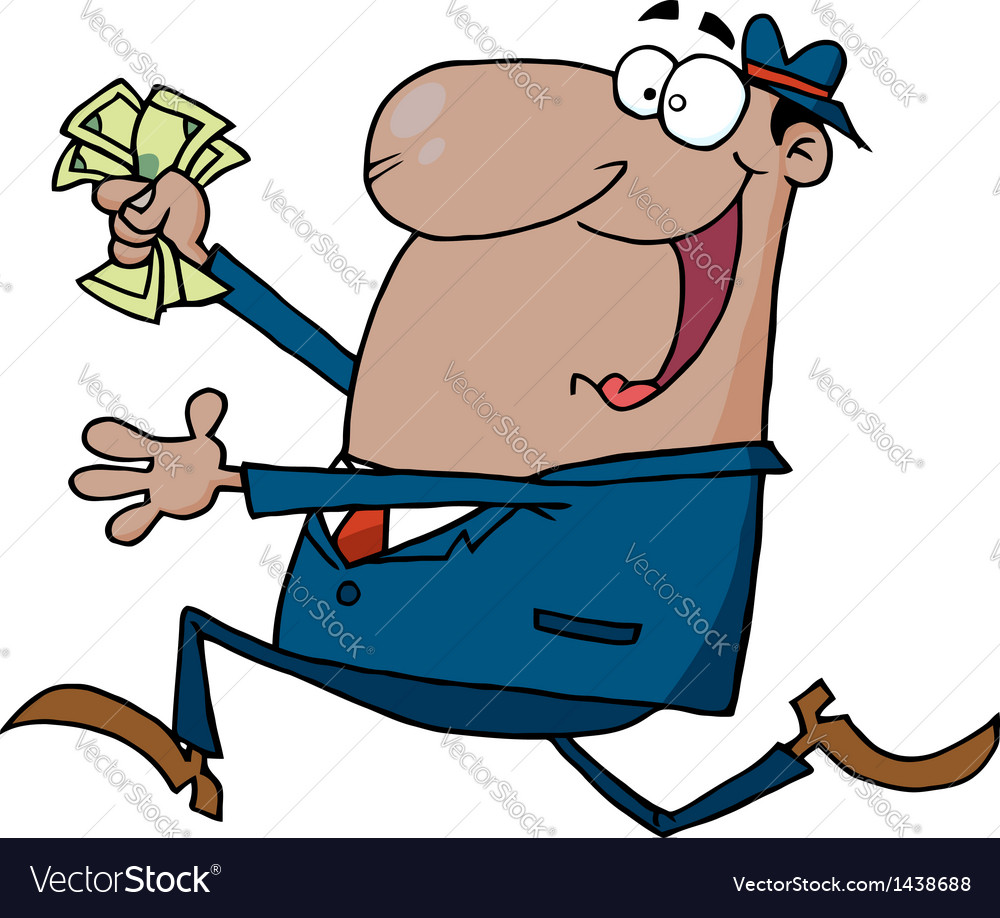 Hispanic businessman running with cash in hand vector | Price: 1 Credit (USD $1)