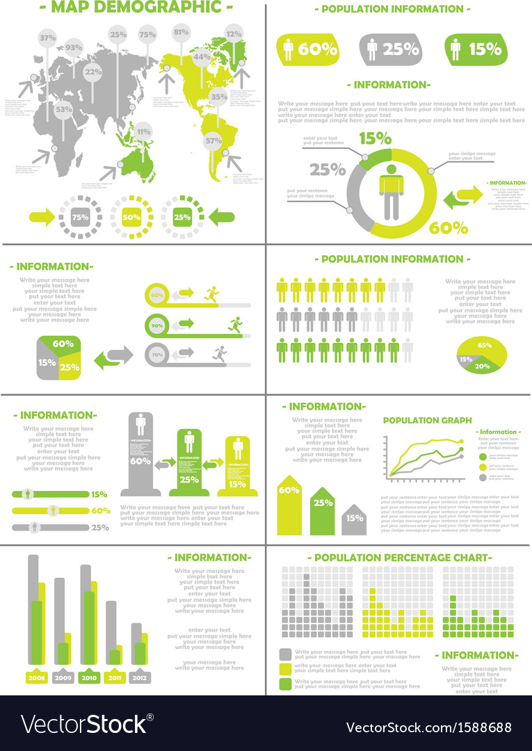 Infographic demographics population 3 yellow vector | Price: 1 Credit (USD $1)