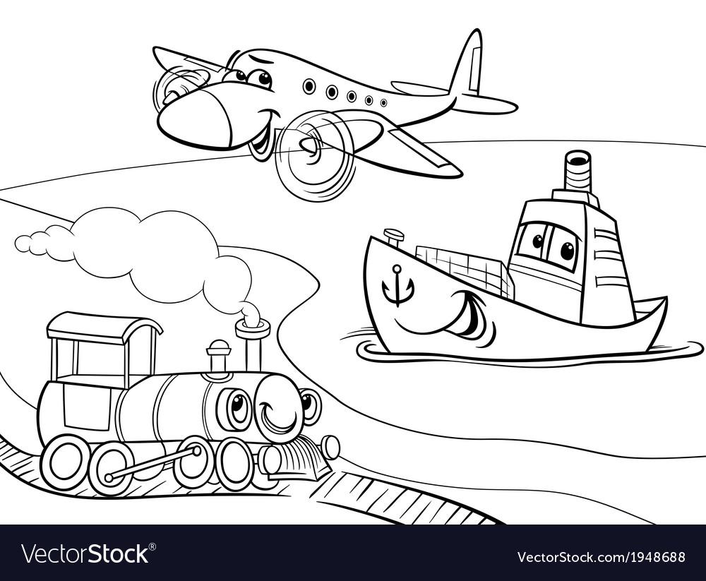 Plane ship train cartoon coloring page vector | Price: 1 Credit (USD $1)