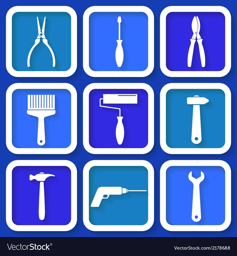 Set of 9 retro blue workers tools vector | Price: 1 Credit (USD $1)