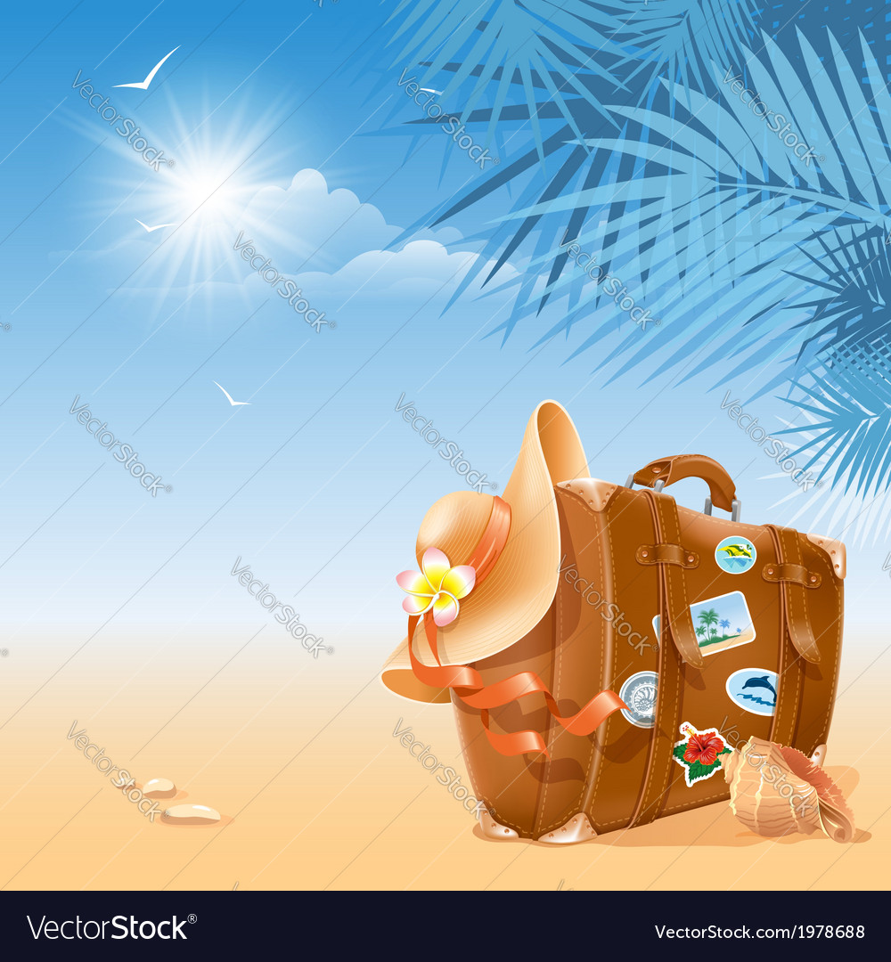 Suitcase and hat vector | Price: 3 Credit (USD $3)