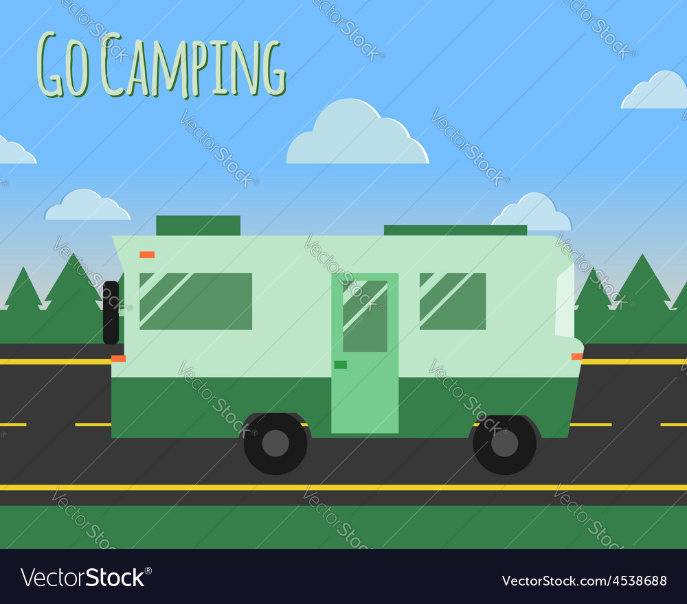 Summer camp travel poster logo badge motorhome on vector | Price: 1 Credit (USD $1)