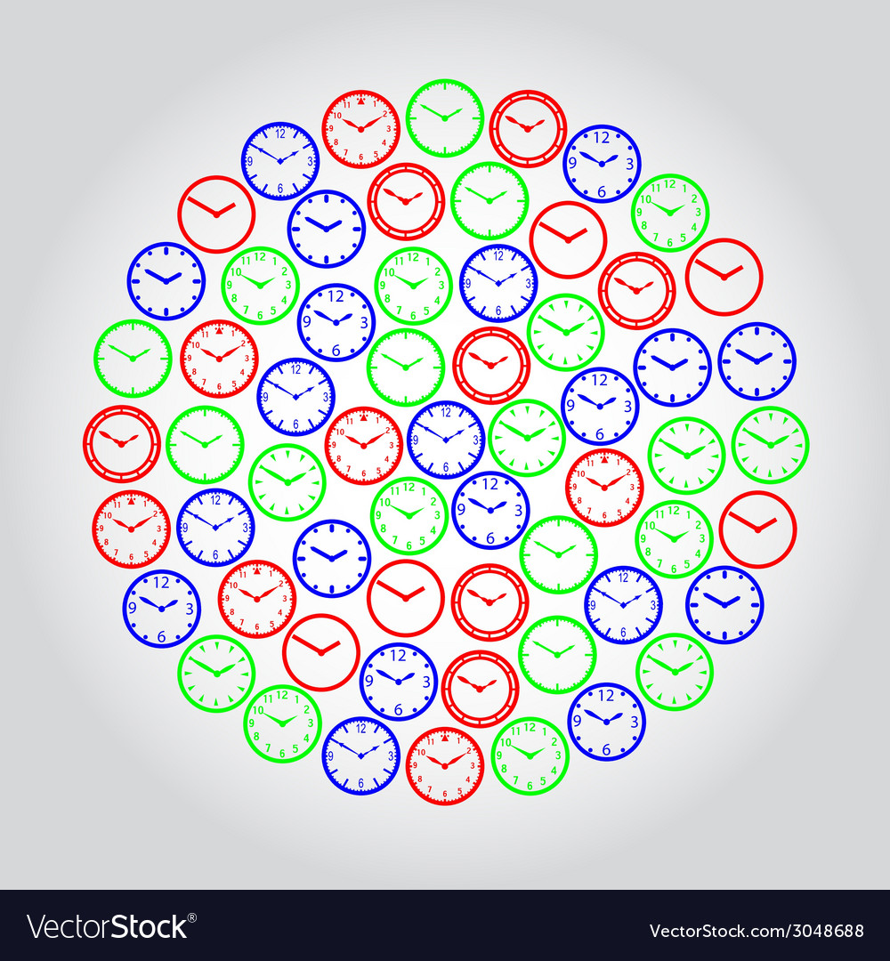 Watch dials red green and blue in circle eps10 vector | Price: 1 Credit (USD $1)