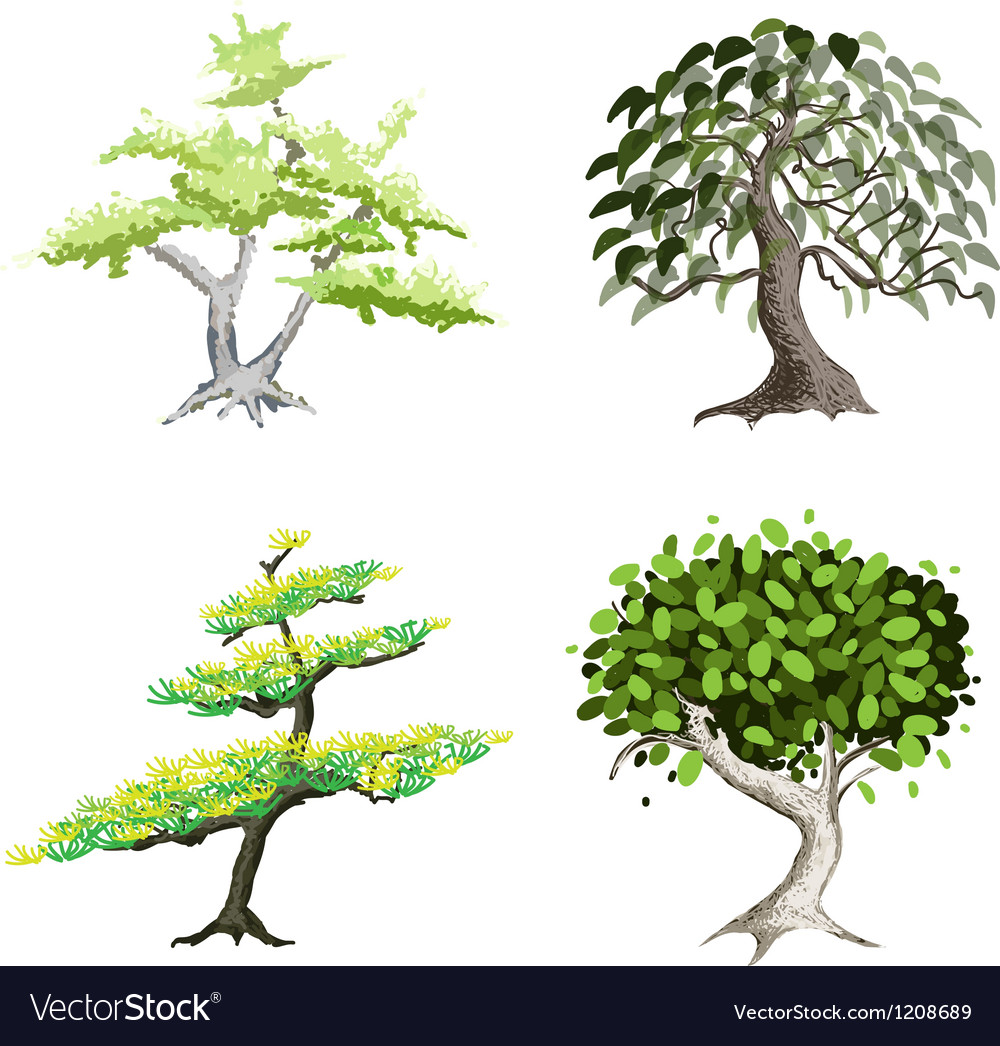 An isometric set of green trees and plants vector | Price: 1 Credit (USD $1)