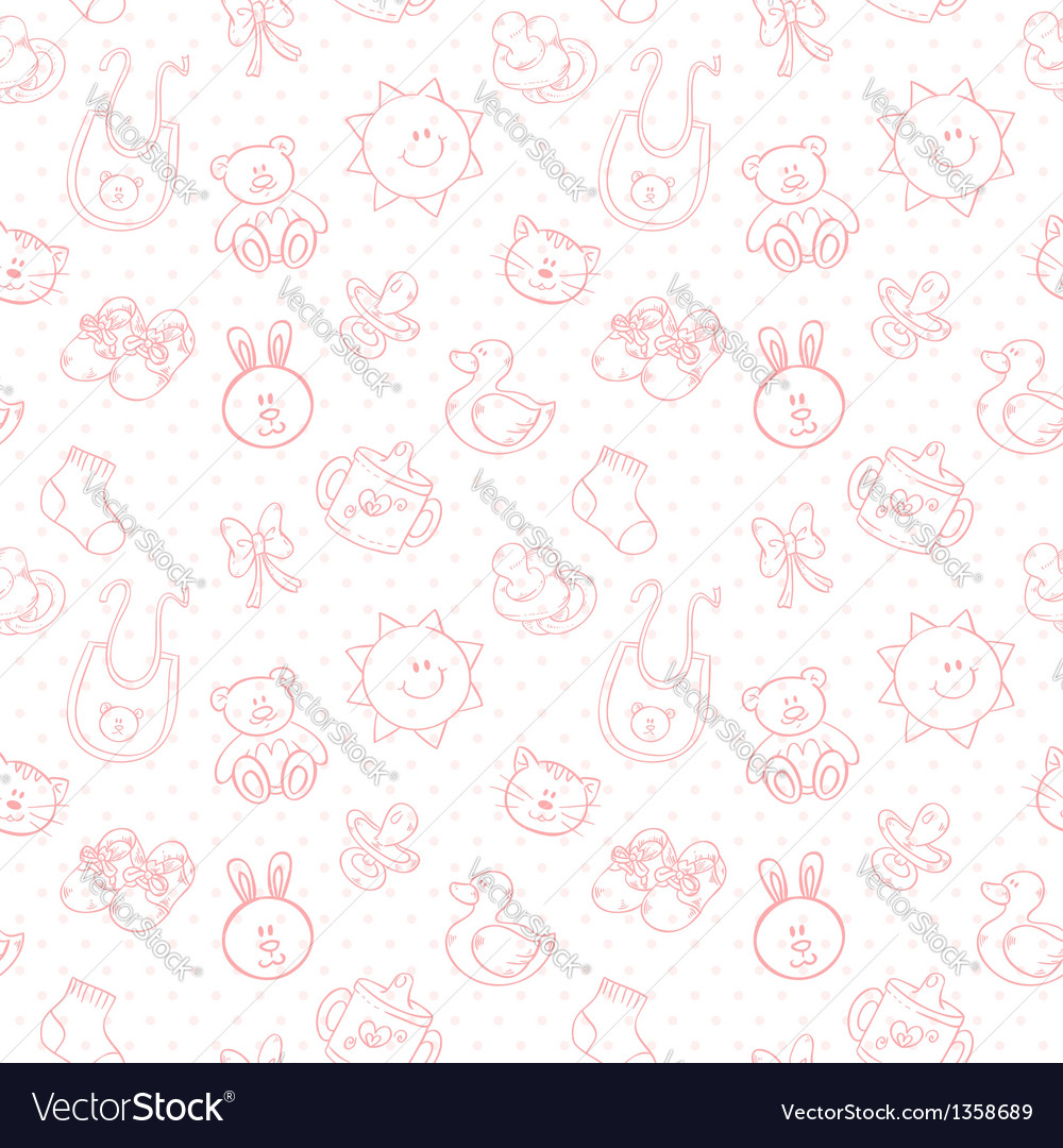 Baby toys cute cartoon set seamless pattern vector | Price: 1 Credit (USD $1)