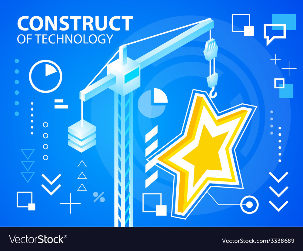 Bright construct crane and star on blue back vector | Price: 3 Credit (USD $3)