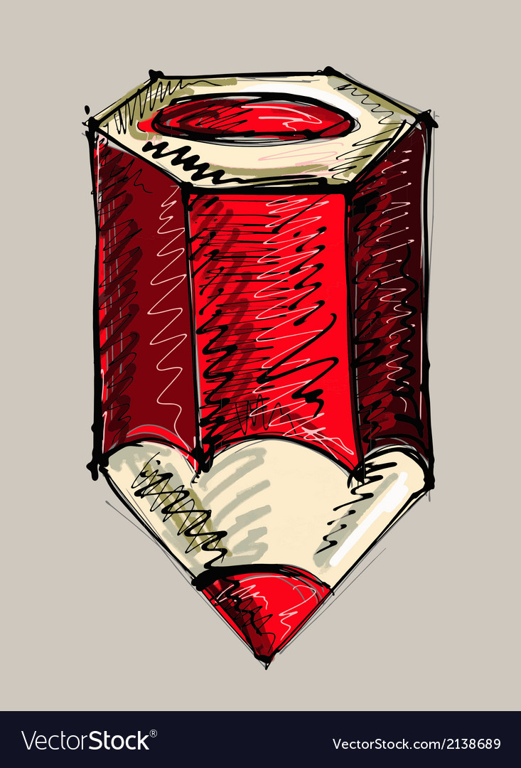Hand drawing of red pencil vector | Price: 1 Credit (USD $1)