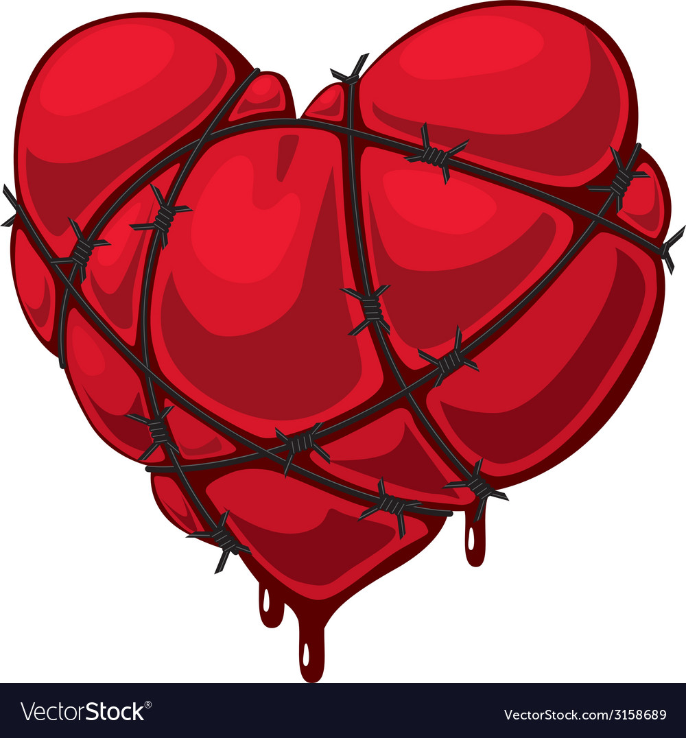 Heart with barbed wire vector | Price: 1 Credit (USD $1)