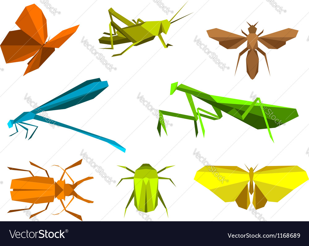 Insects in origami paper elements vector | Price: 1 Credit (USD $1)