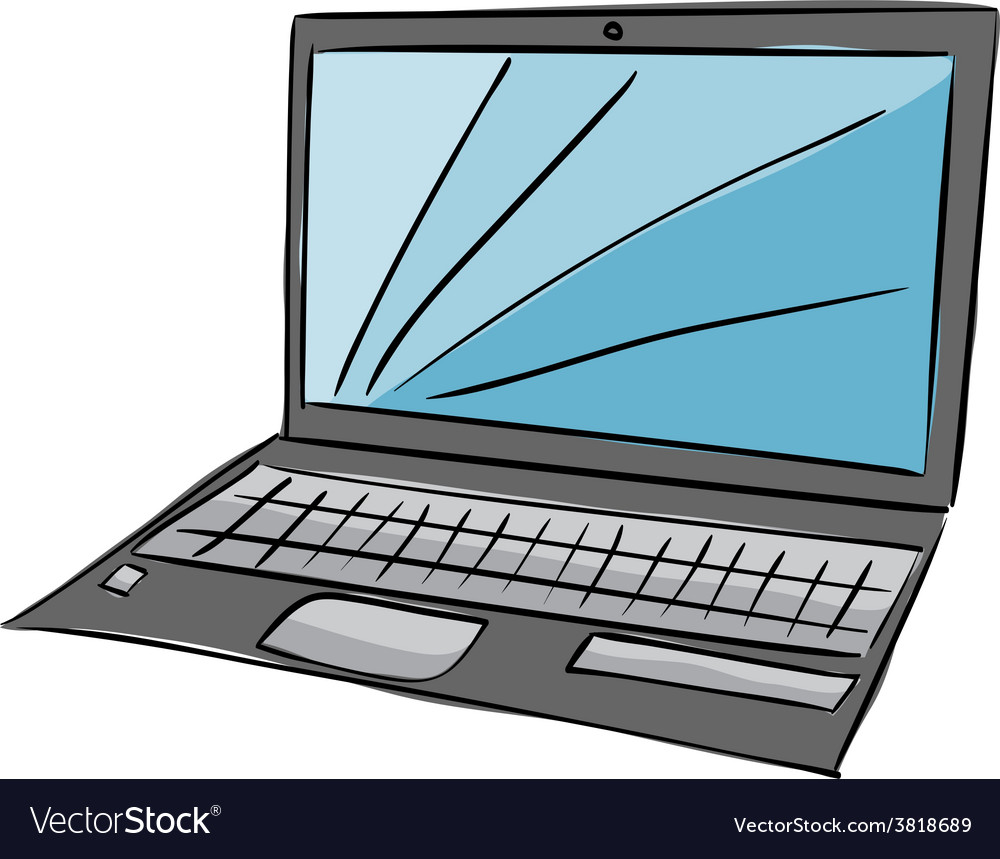 Laptop with blue screen vector | Price: 1 Credit (USD $1)