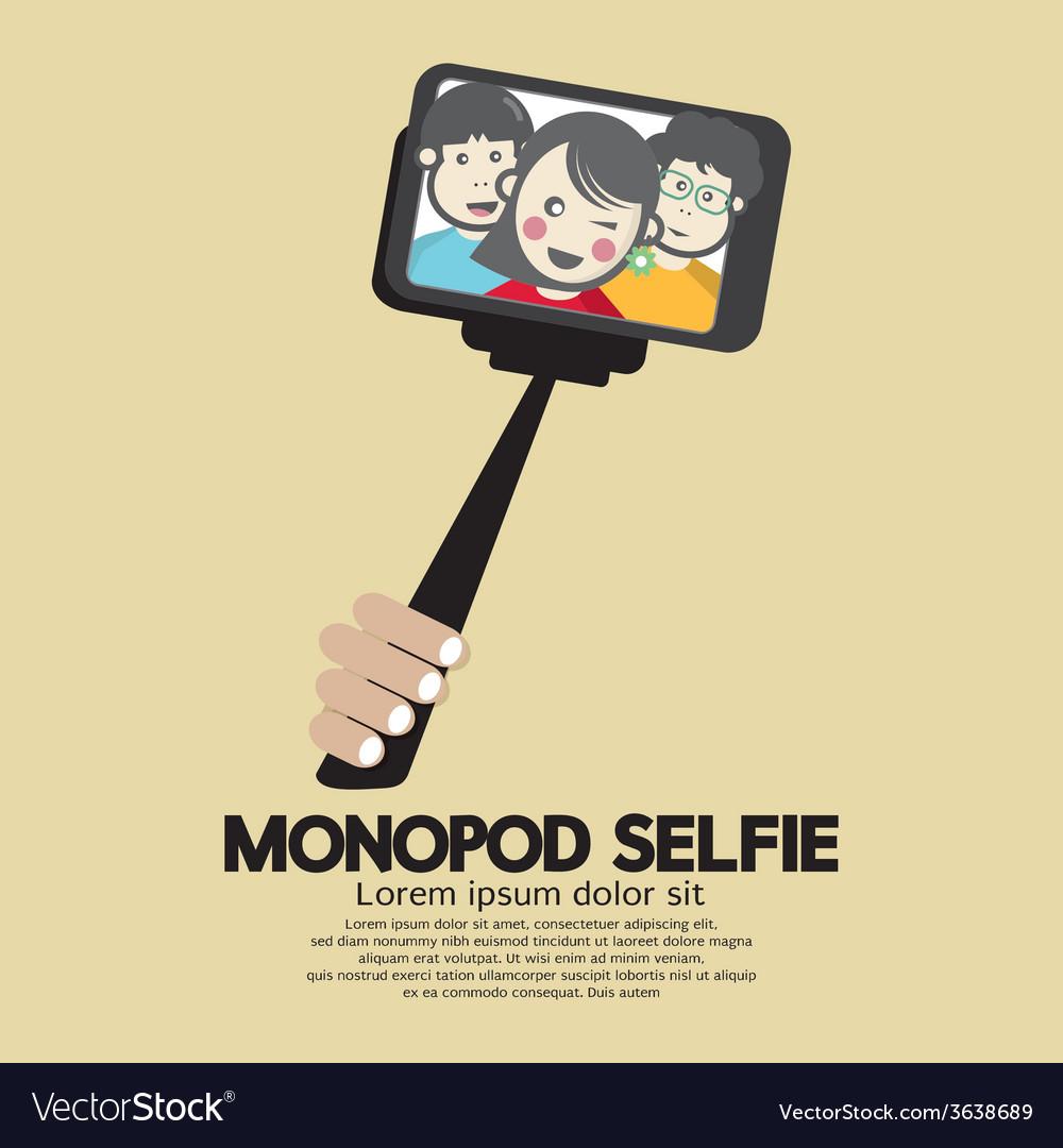 Monopod selfie self portrait tool for smartphone vector | Price: 1 Credit (USD $1)