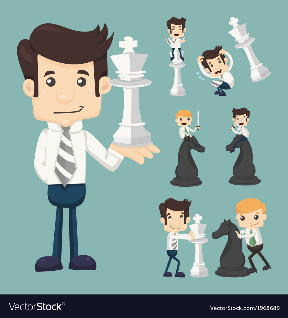 Set of businessman fighting playing chess vector | Price: 1 Credit (USD $1)