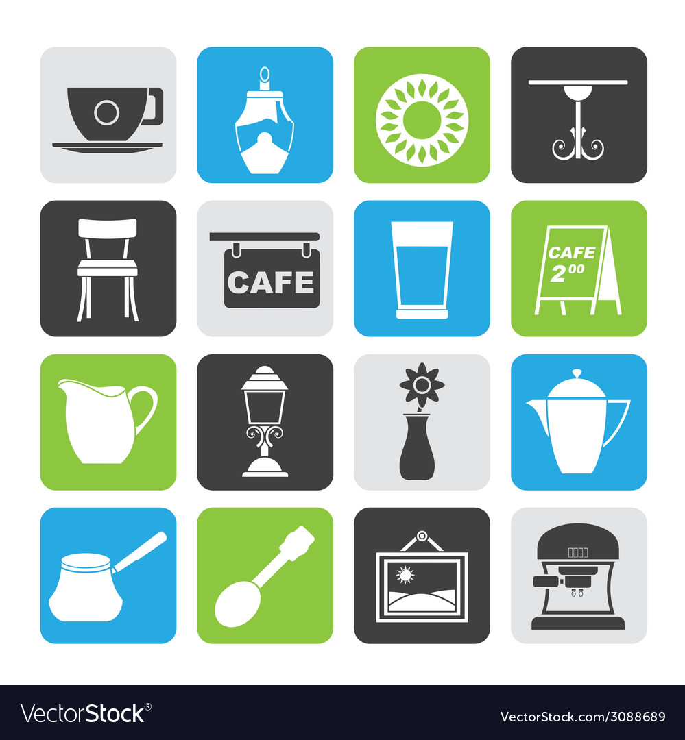 Silhouette coffe and coffeehouse icons vector | Price: 1 Credit (USD $1)